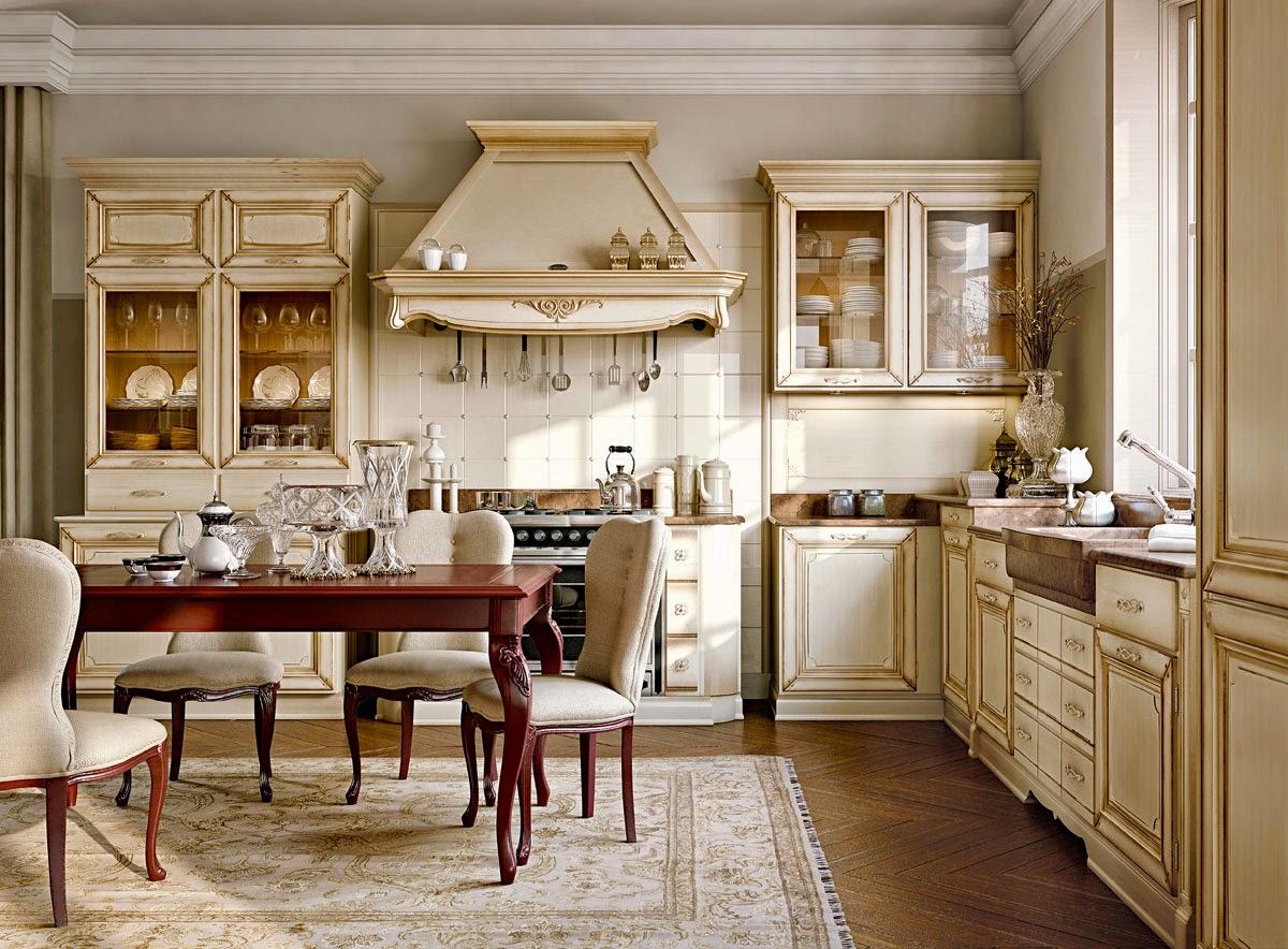 Бежевая классическая кухня с красным обеденным столом