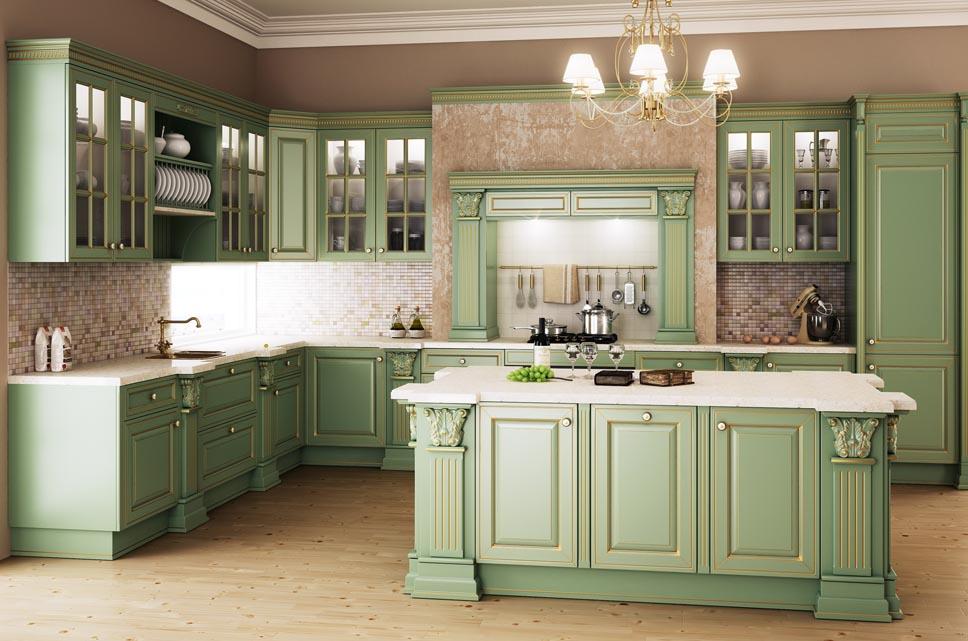 Бежево-зеленая кухня в классическом стиле с островом