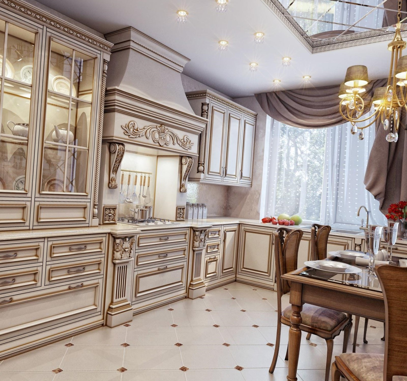 Кремово-коричневая классическая кухня
