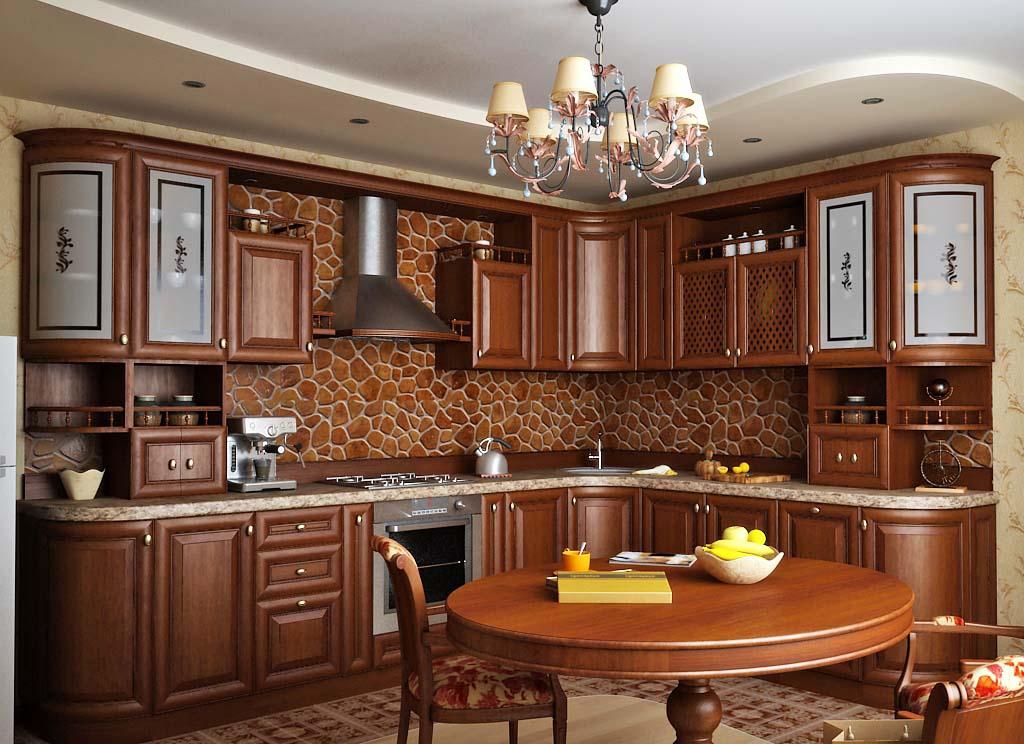 Коричневый фартук в классической угловой кухне