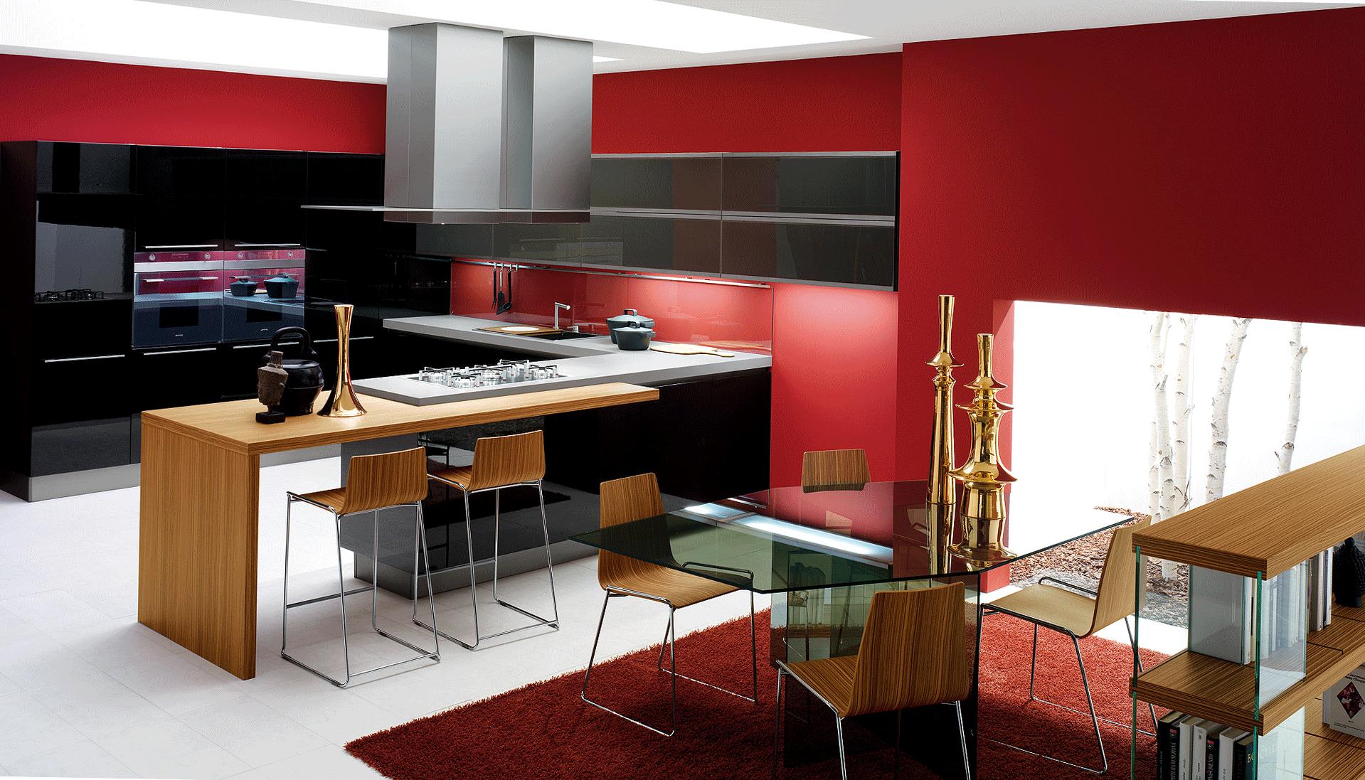 Стильная кухня с красными стенами