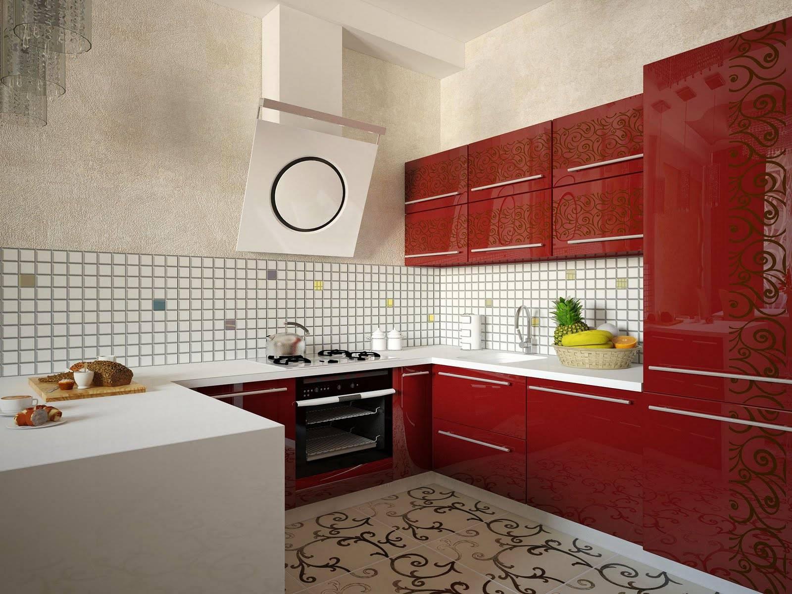 Красно-белая кухня с узорами