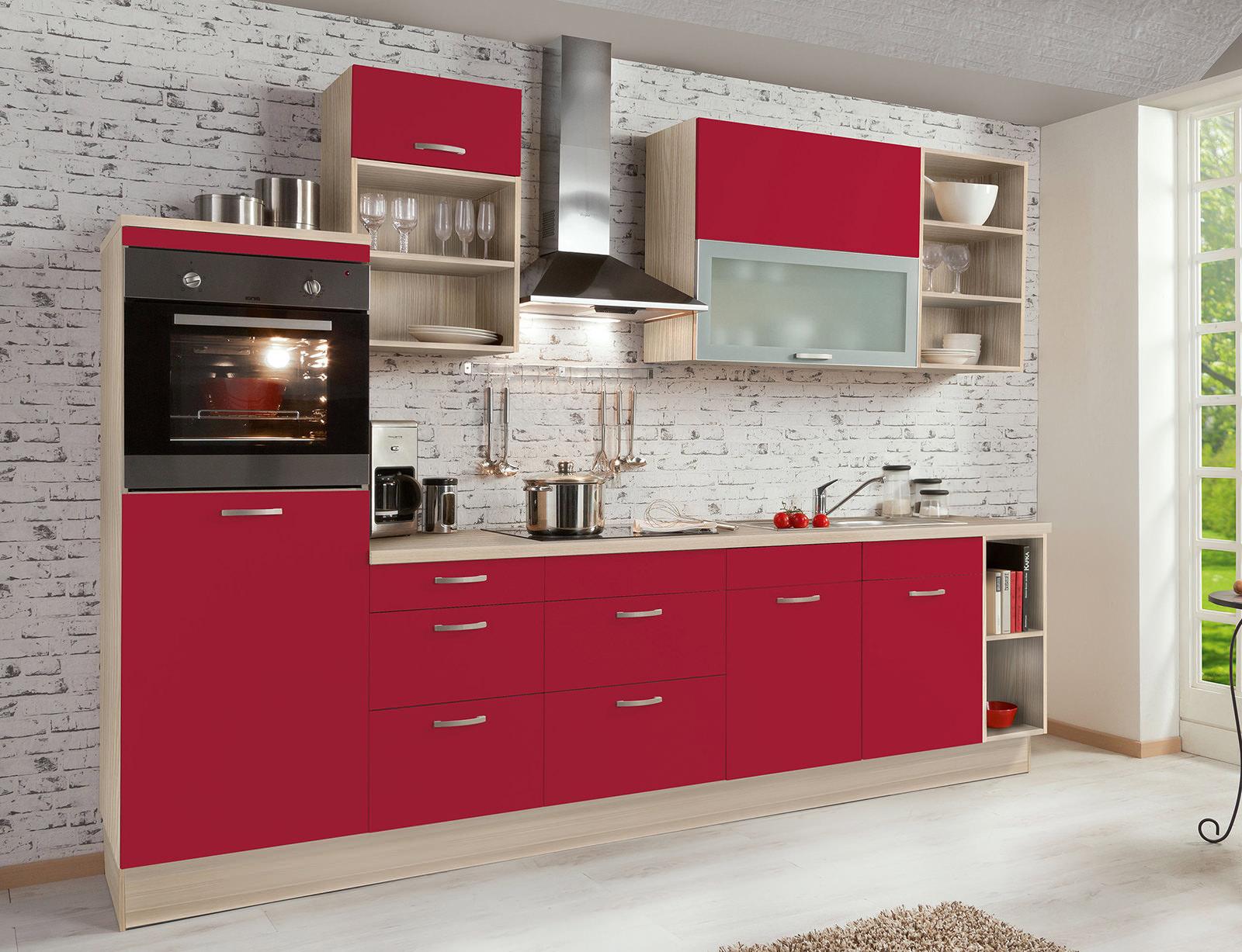 Бежево-алый кухонный гарнитур