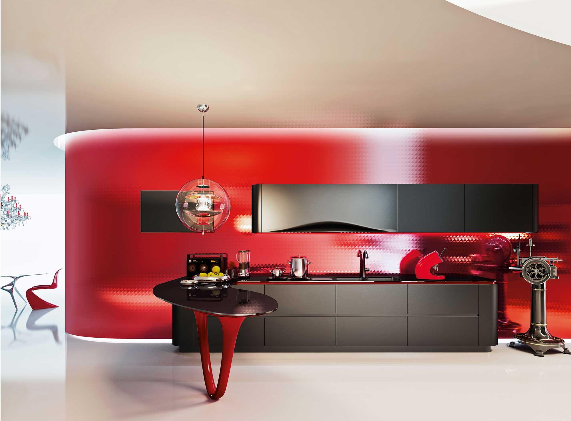 Красно-черная современная кухня