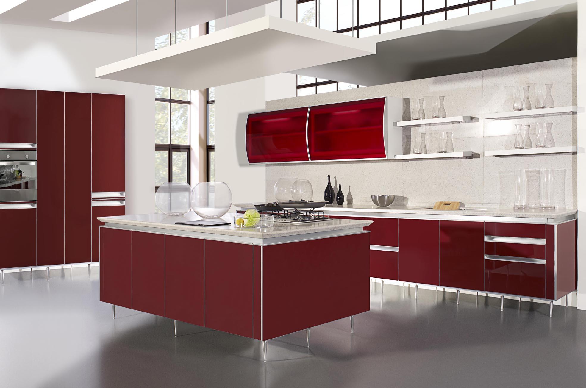Красно-белая кухня с островом