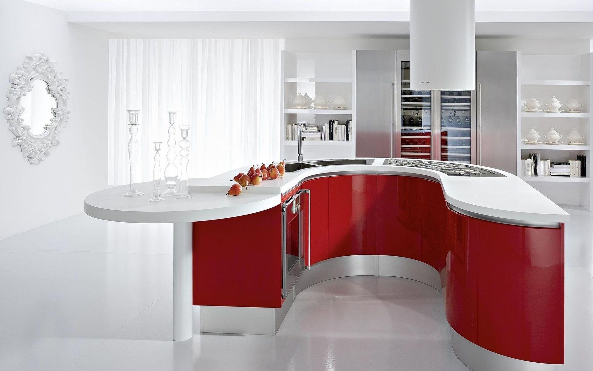 Радиусный красно-белый остров на кухне