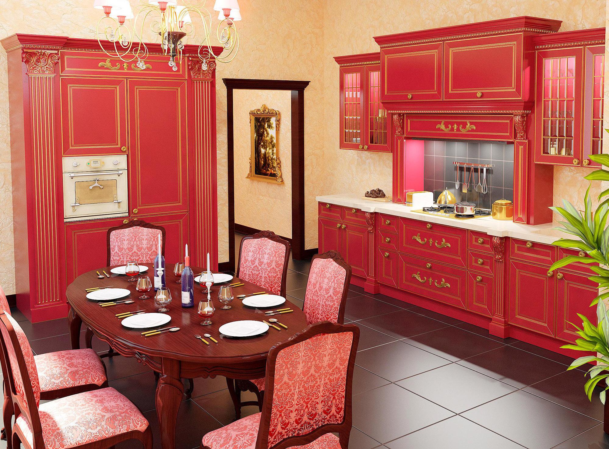 Бежевые обои в классической кухне с красным гарнитуром