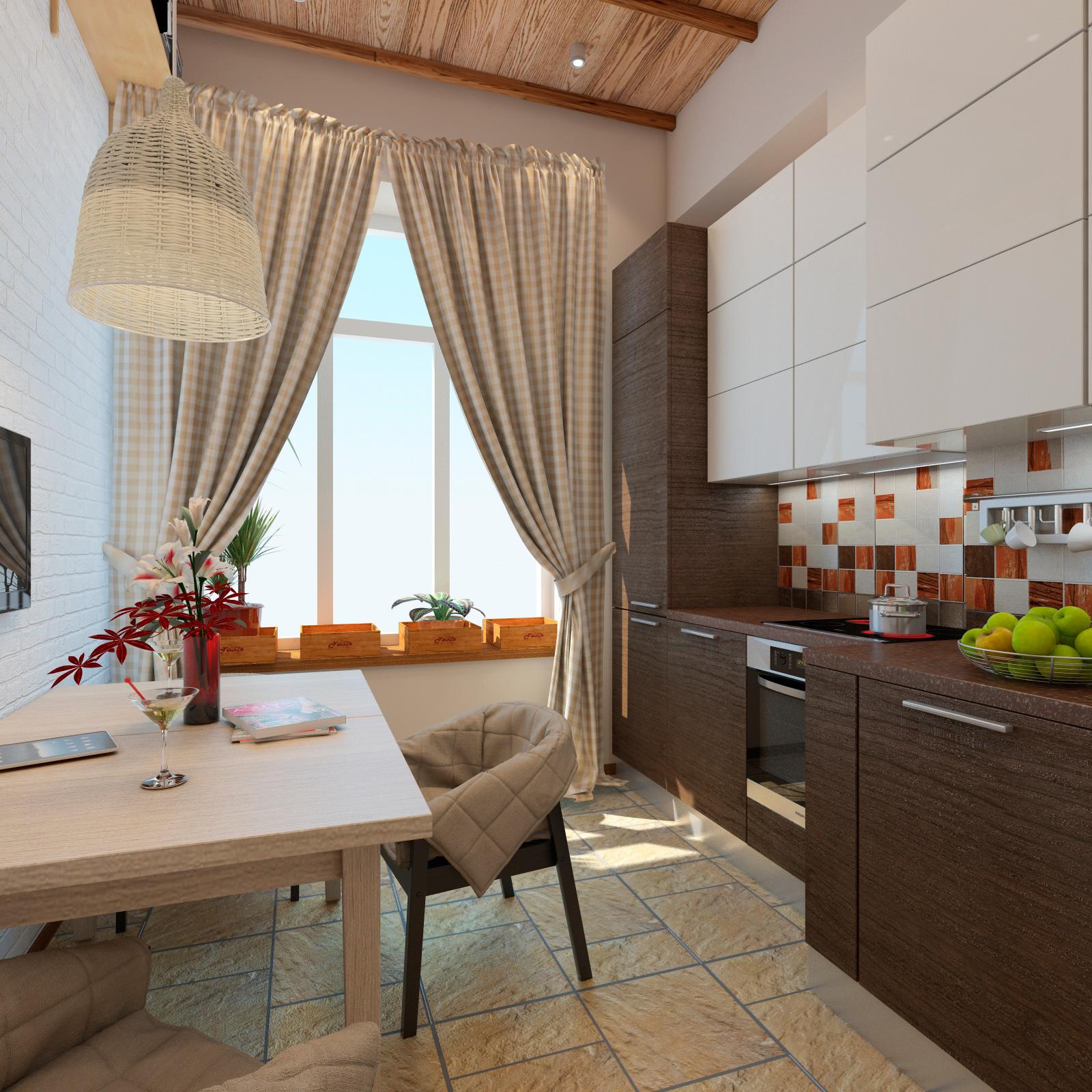 Белая, оранжевая и коричневая плитка для фартука на кухне