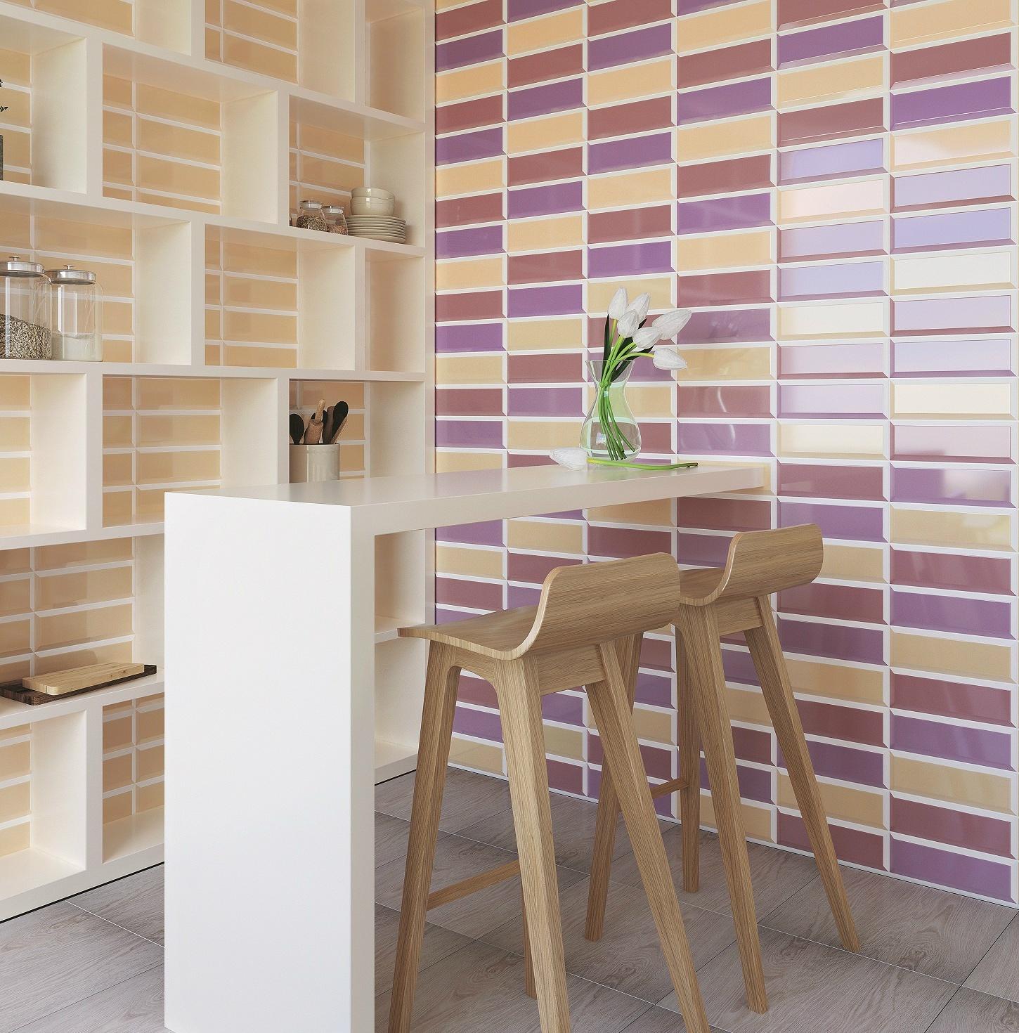 Красивый вариант комбинирования желтой и розовой плитки