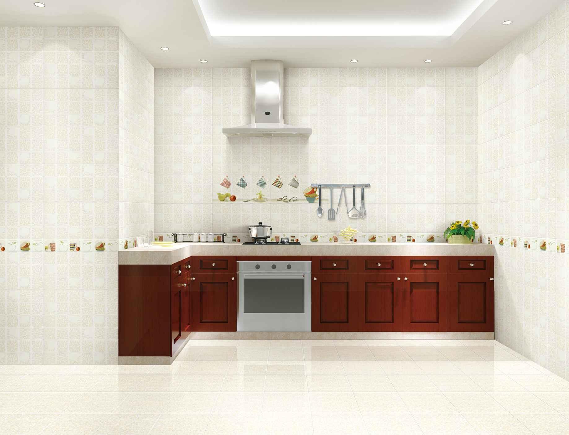 Светлая плитка с ярким акцентом в большой кухне