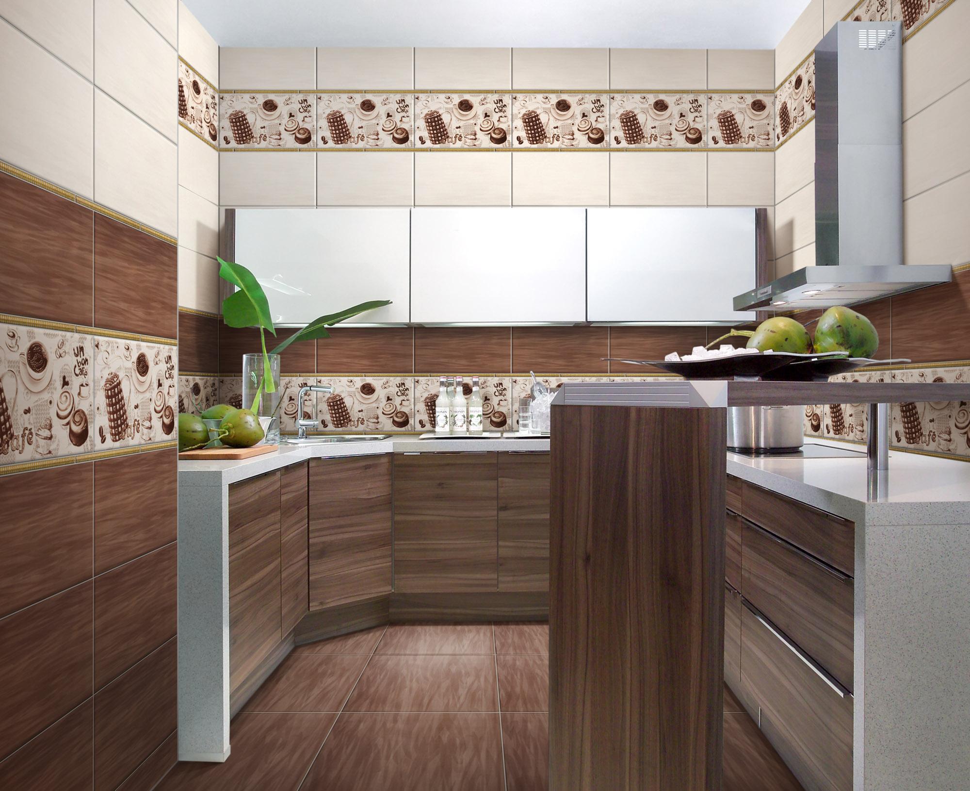 Бежево-коричневая настенная плитка на кухне