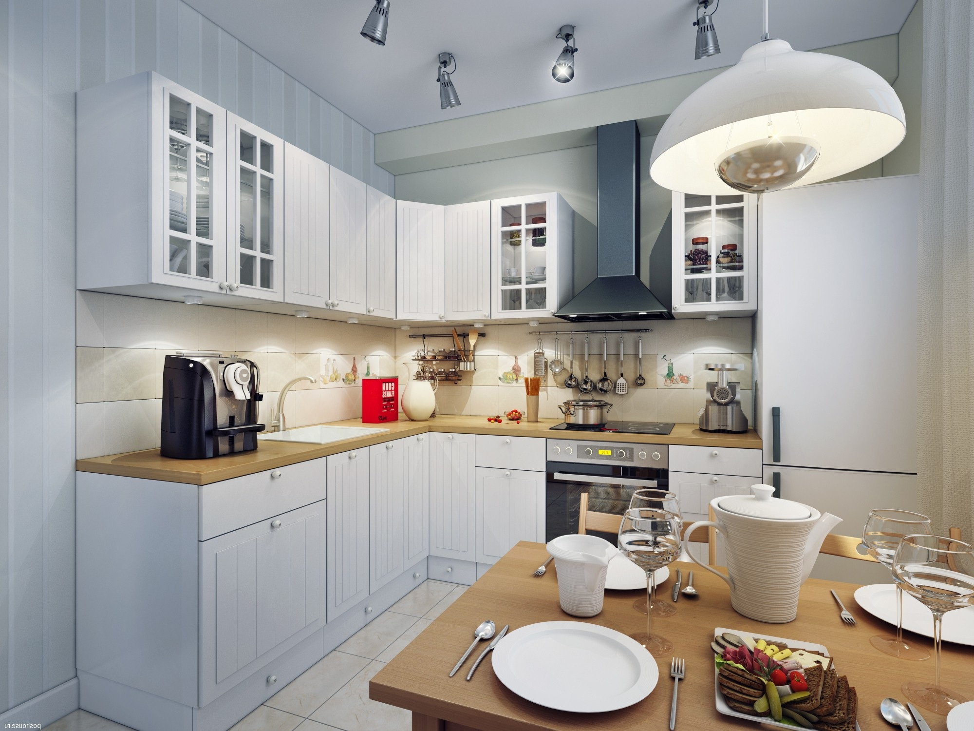 Красивое освещение небольшой кухни
