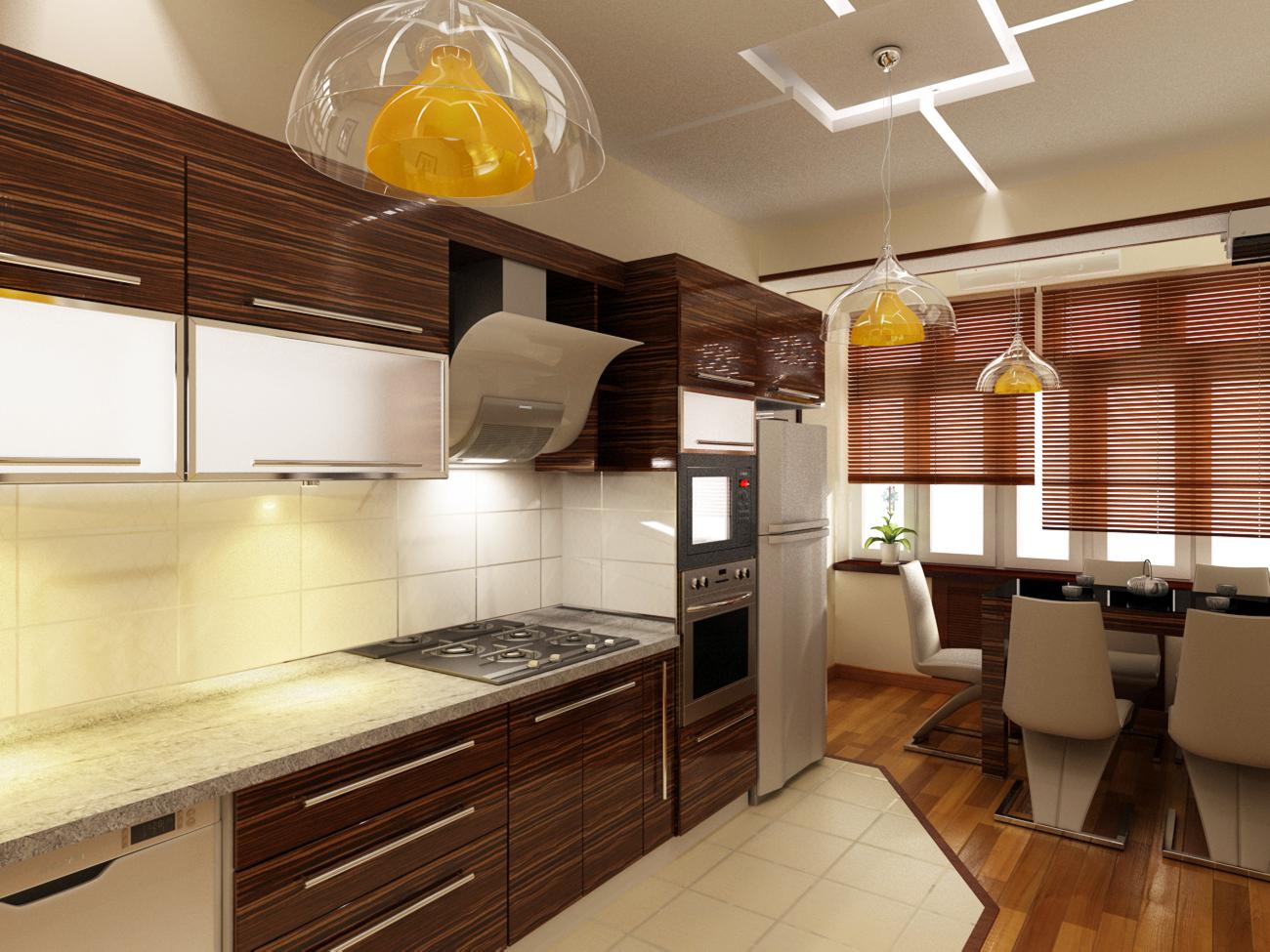Люстры из прозрачного и желтого стекла на кухне