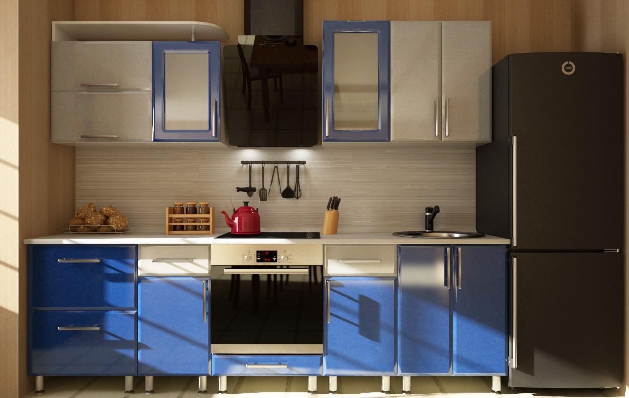 Сине-серый интерьер кухни