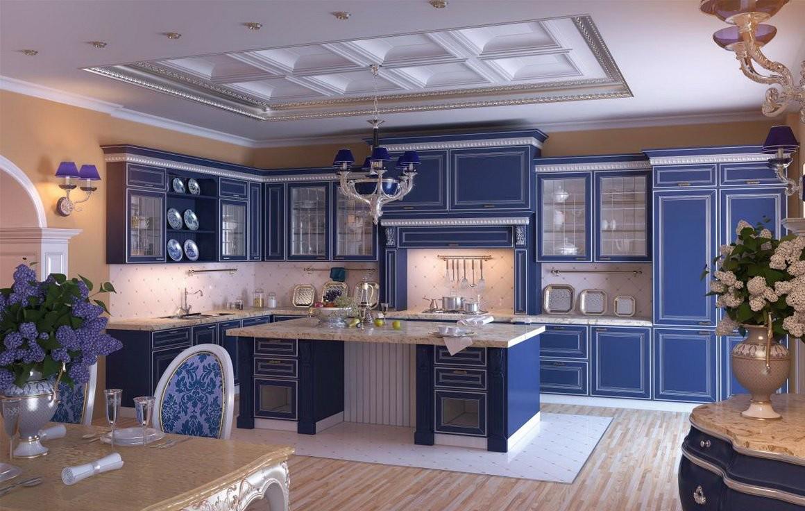 Классическая кремово-синяя кухня