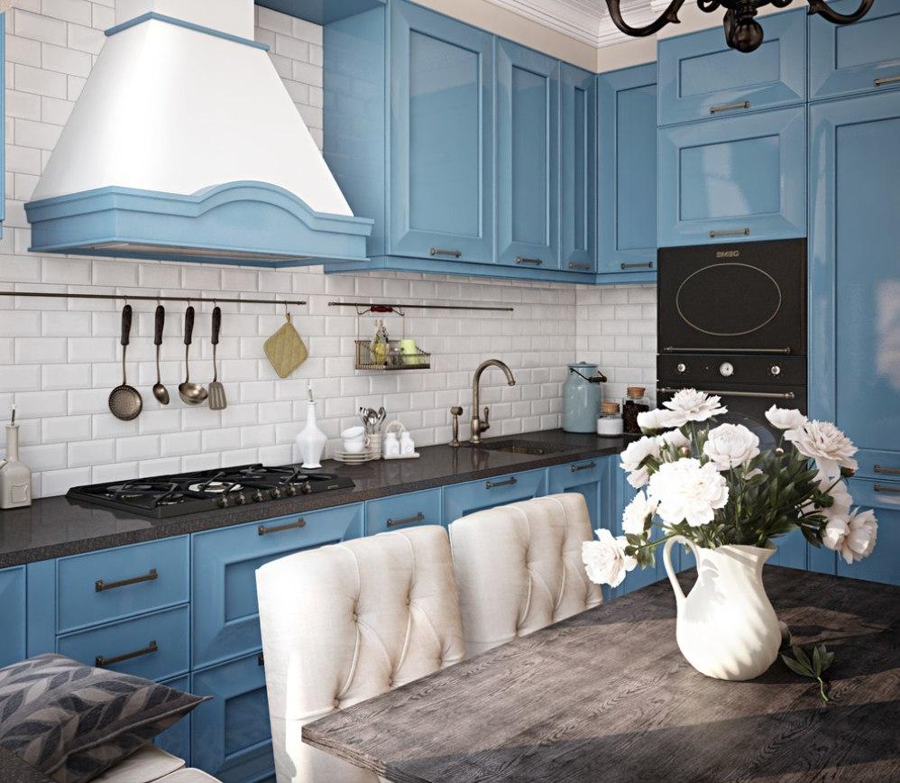 Красивый приглушенный синий и белый цвета в интерьере кухни в стиле прованс