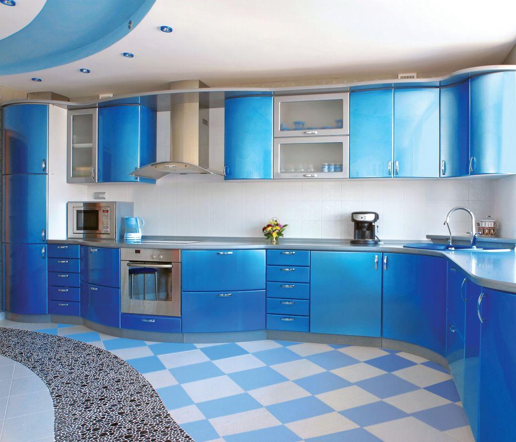 Синяя радиусная кухня
