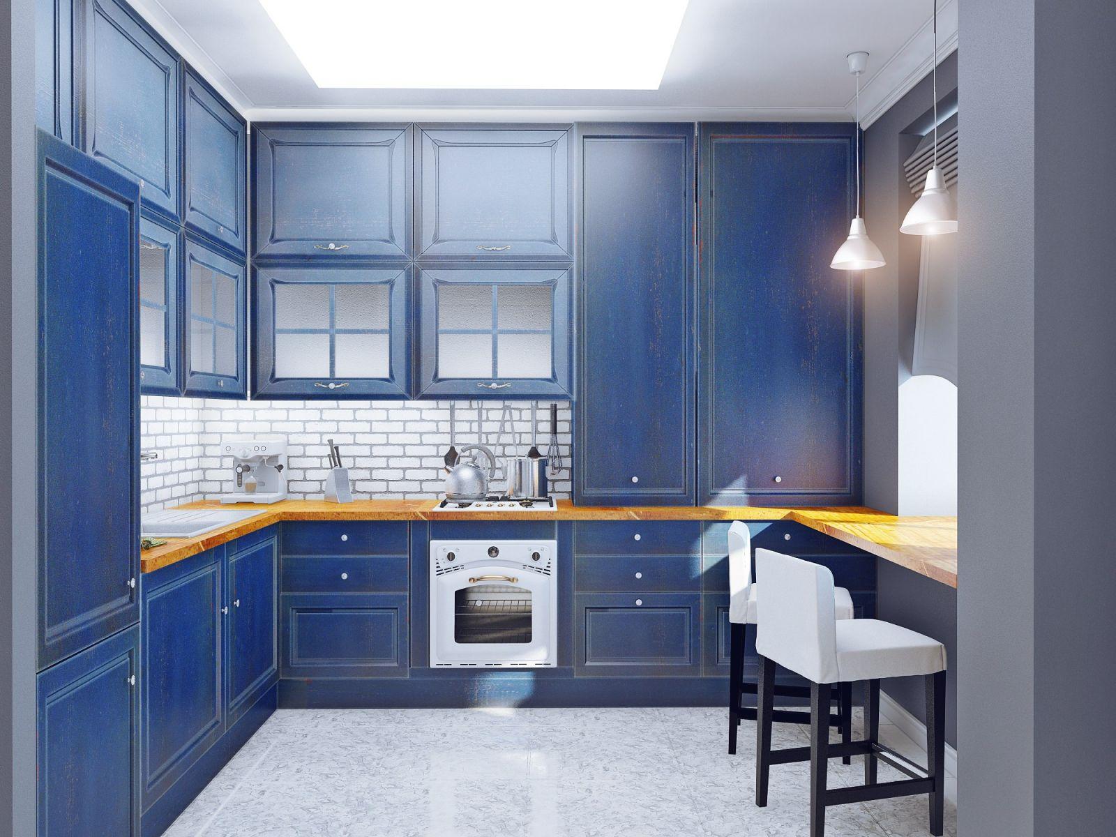 Сине-белая кухня в стиле прованс