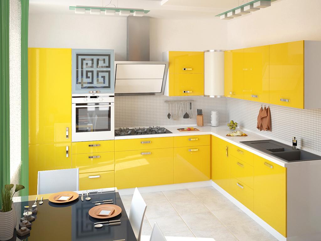 Желто-белый угловой гарнитур в интерьере кухни