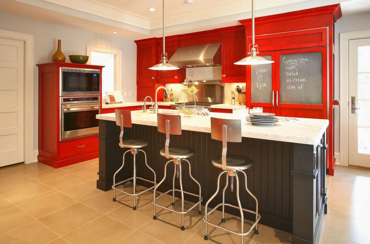 Красный, белый и черный цвета в интерьере кухни