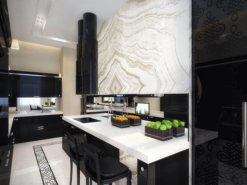 Красивая монохромная кухня