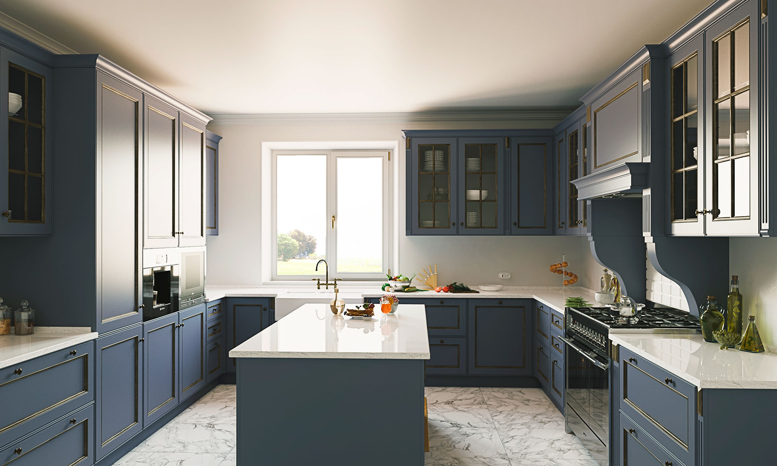 Сине-белая кухня с островом в стиле кантри