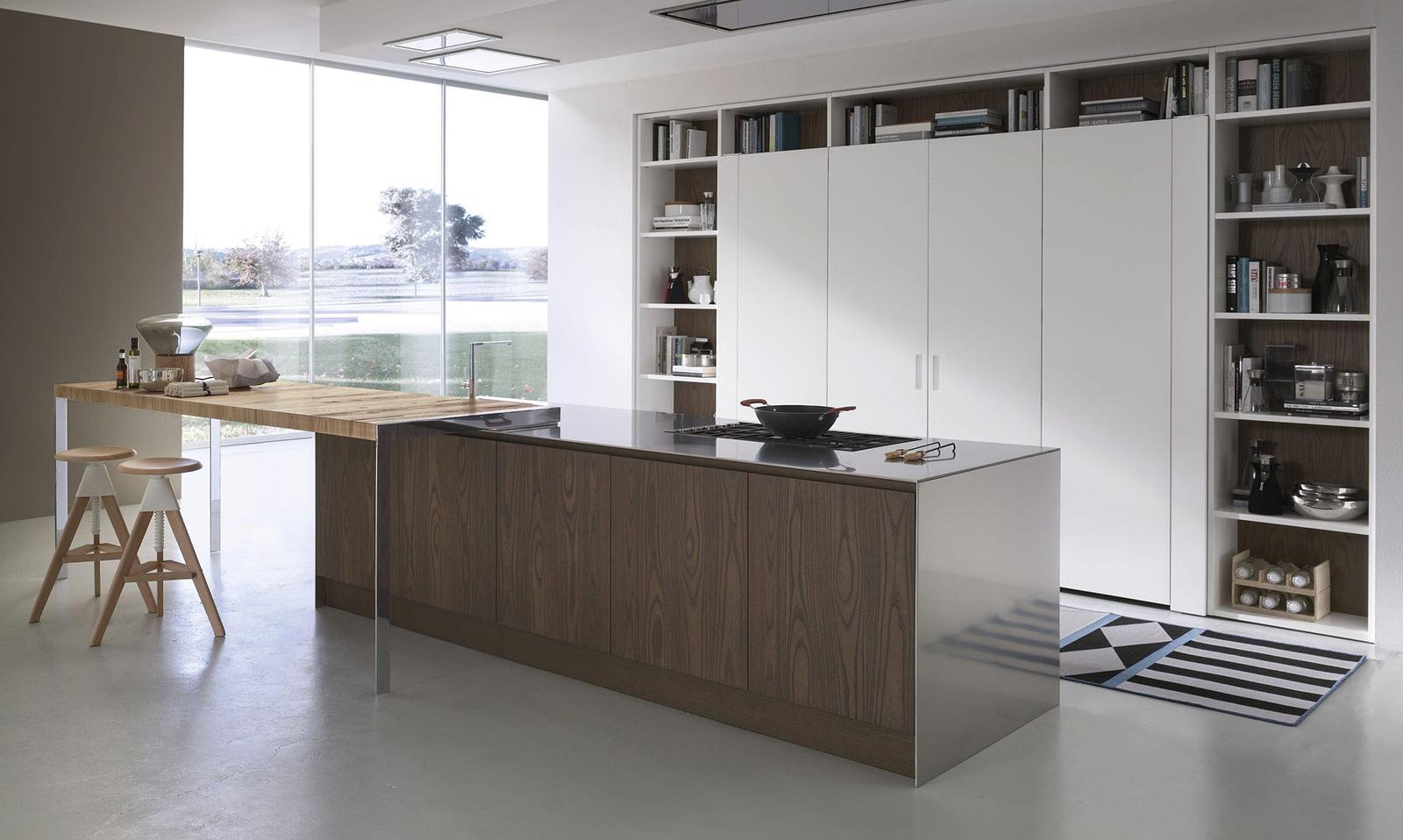 Бежевый, коричневый и белый цвета в интерьере кухни в стиле минимализм