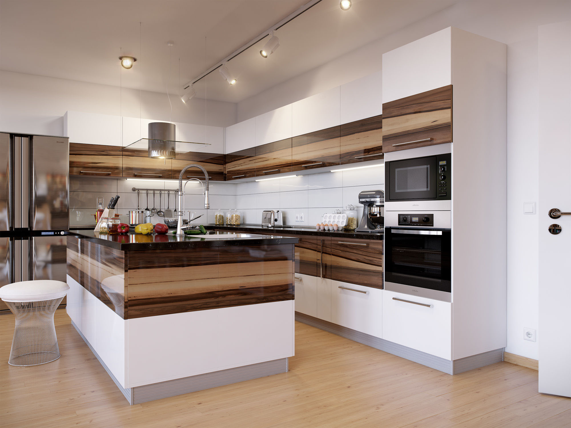 Бело-коричневая глянцевая кухня с островом