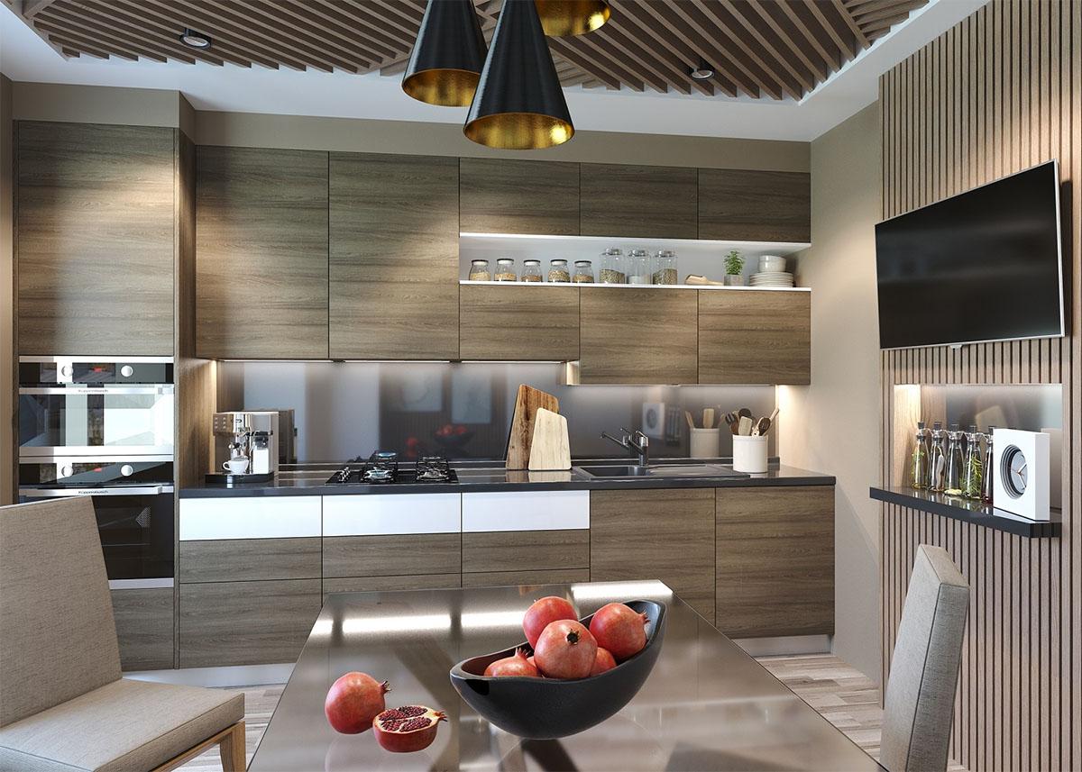 Стильная коричневая кухня в стиле модерн