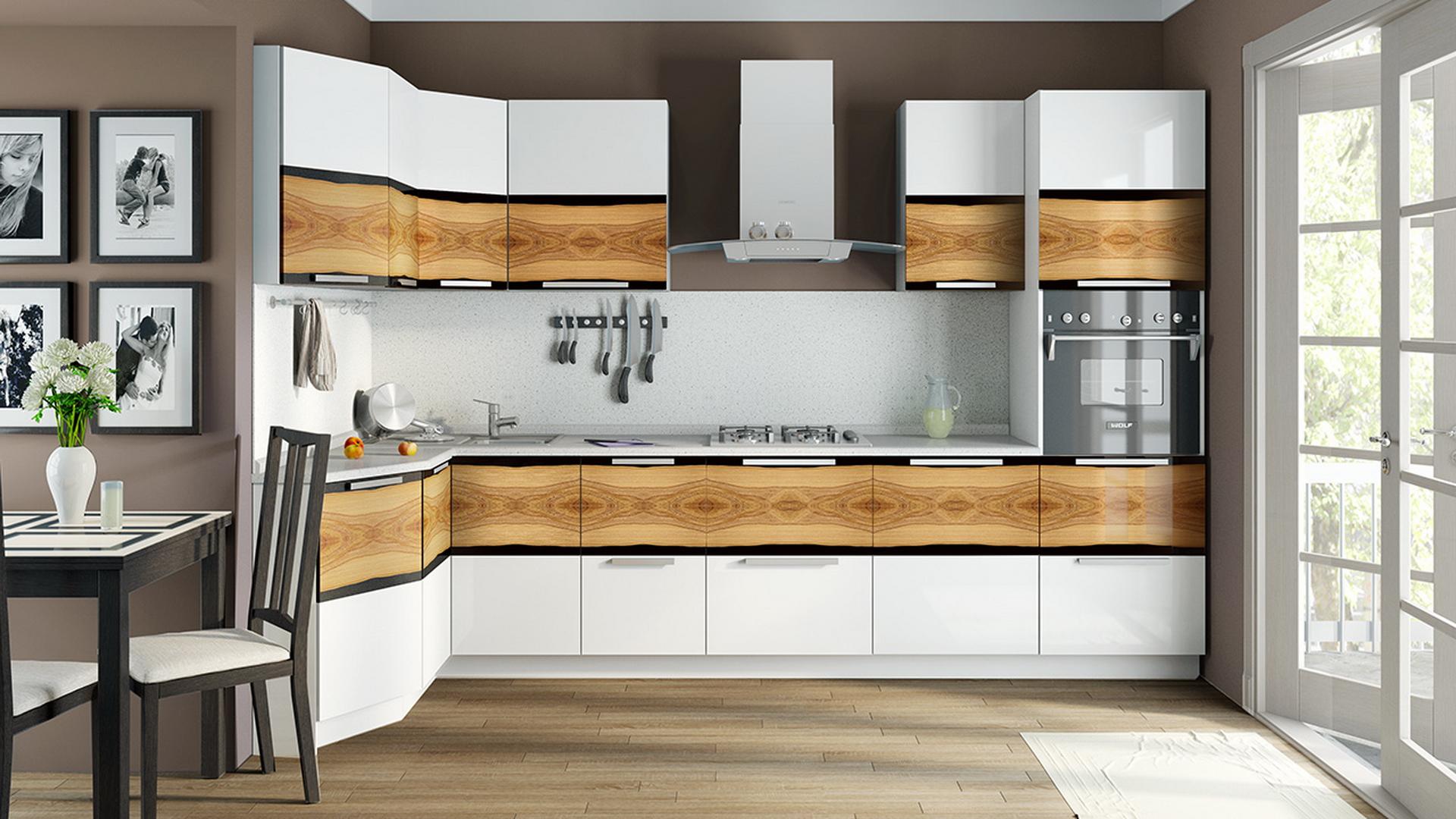 Бело-коричневый угловой гарнитур на кухне