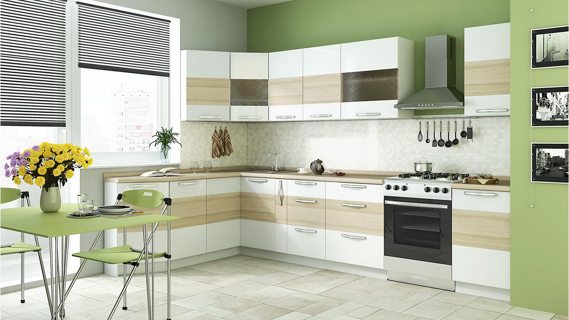 Угловой кремово-белый кухонный гарнитур