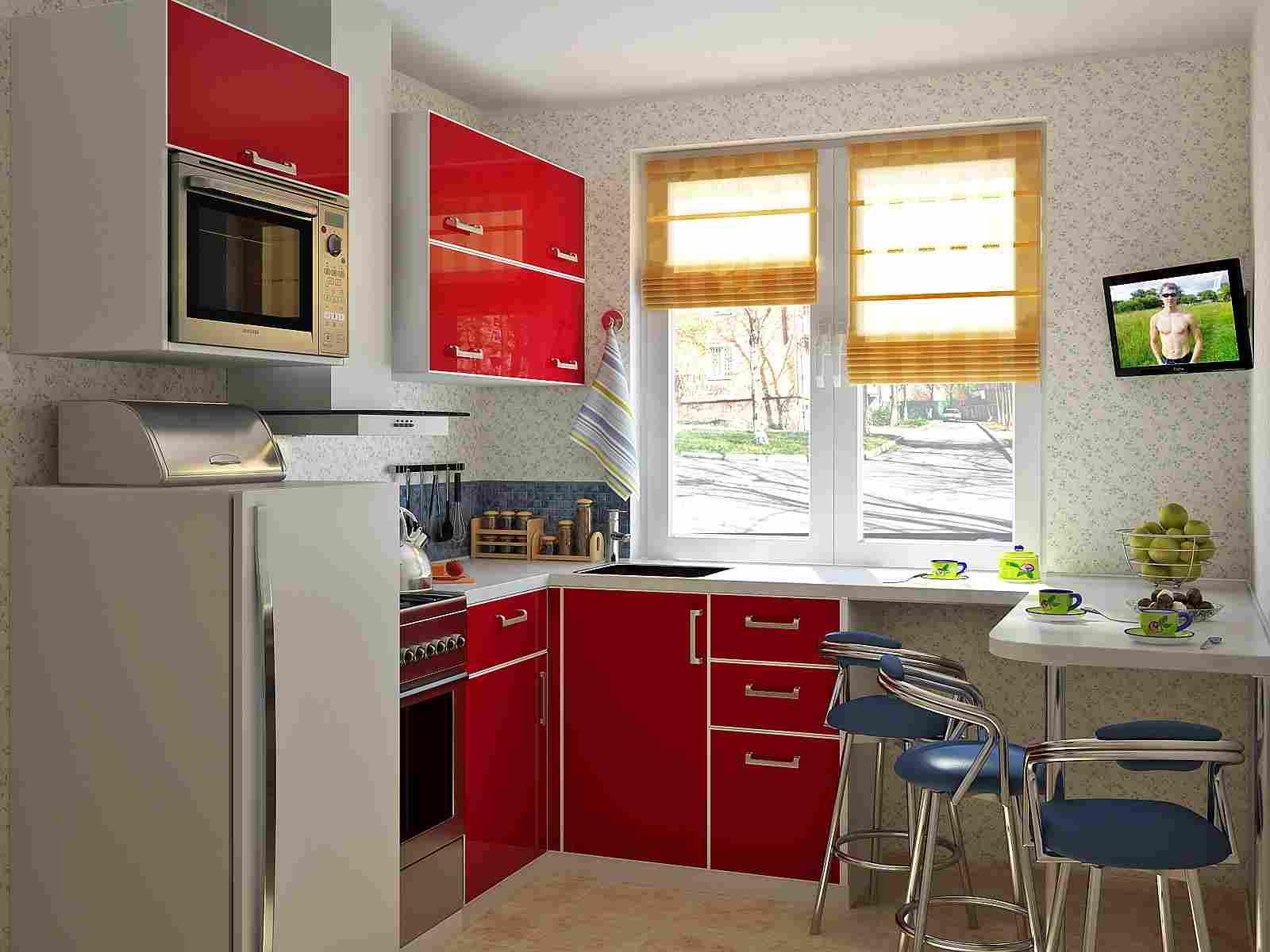 Угловой красно-белый небольшой кухонный гарнитур