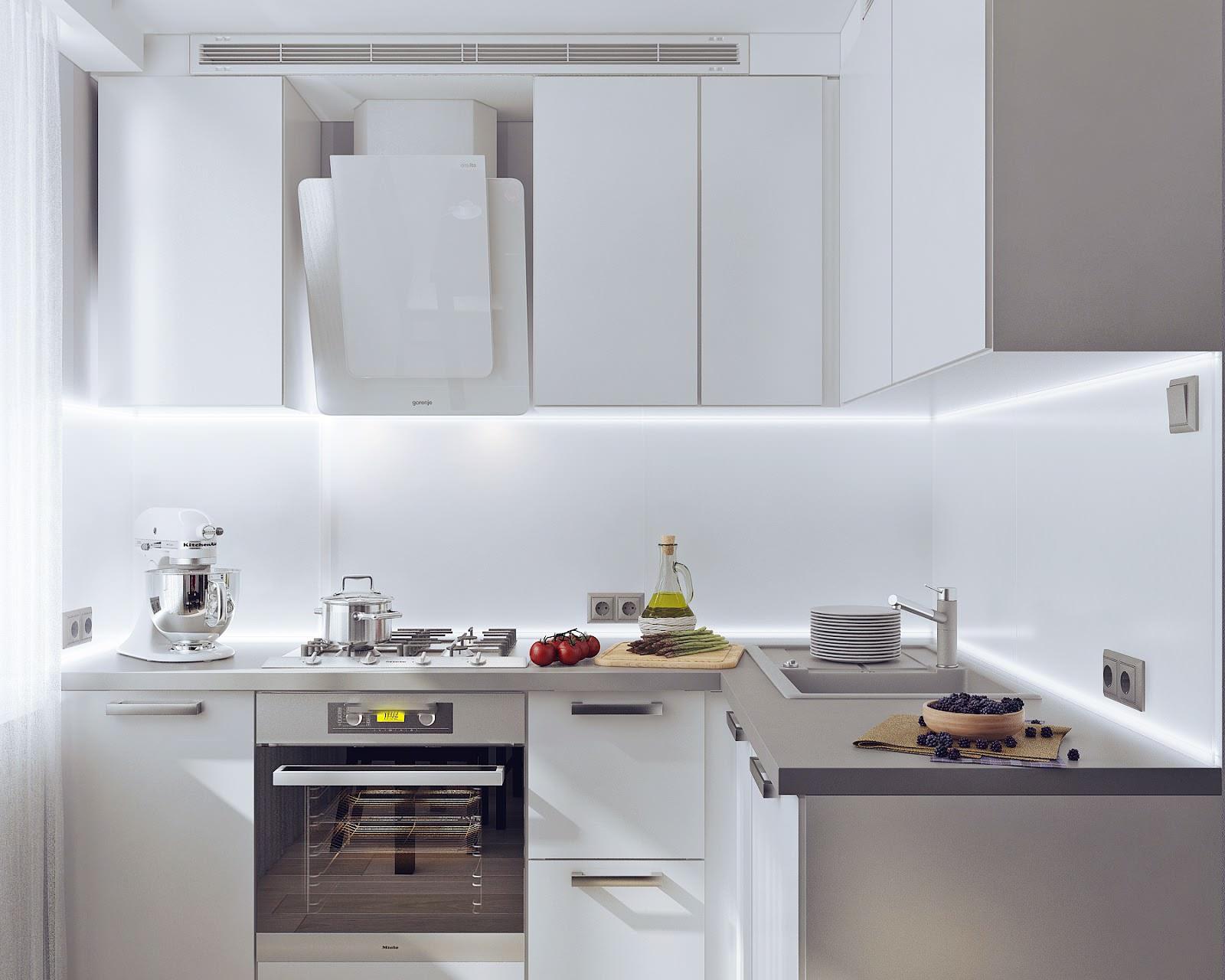 Угловой белый современный кухонный гарнитур