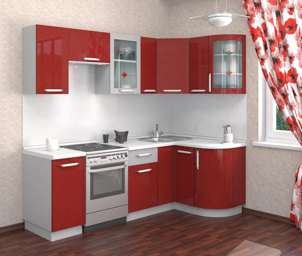 Небольшой красно-белый угловой гарнитур на кухне
