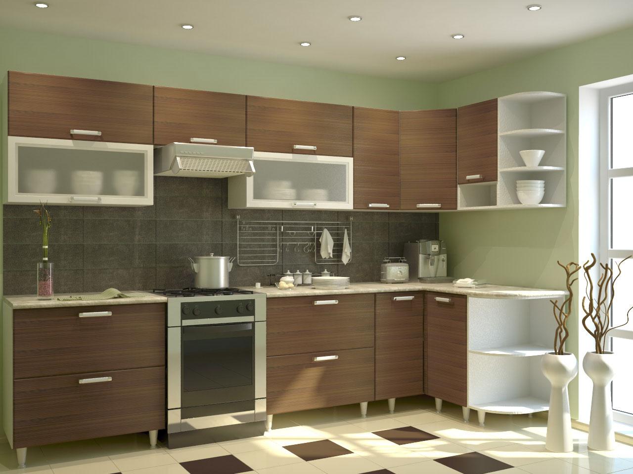 Коричневый угловой гарнитур на кухне