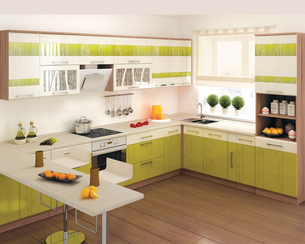 Салатово-белый угловой гарнитур с барной стойкой на кухне