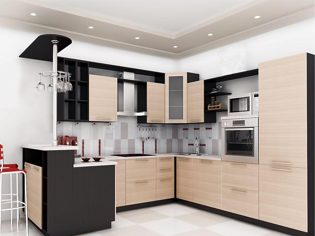 Кремово-черный современный угловой гарнитур на кухне