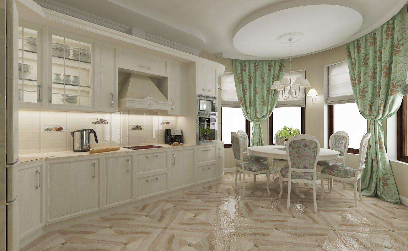 Белая просторная кухня с мятными акцентами