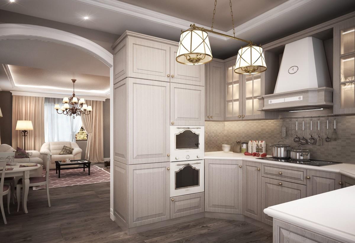 Совмещенная серая кухня в доме