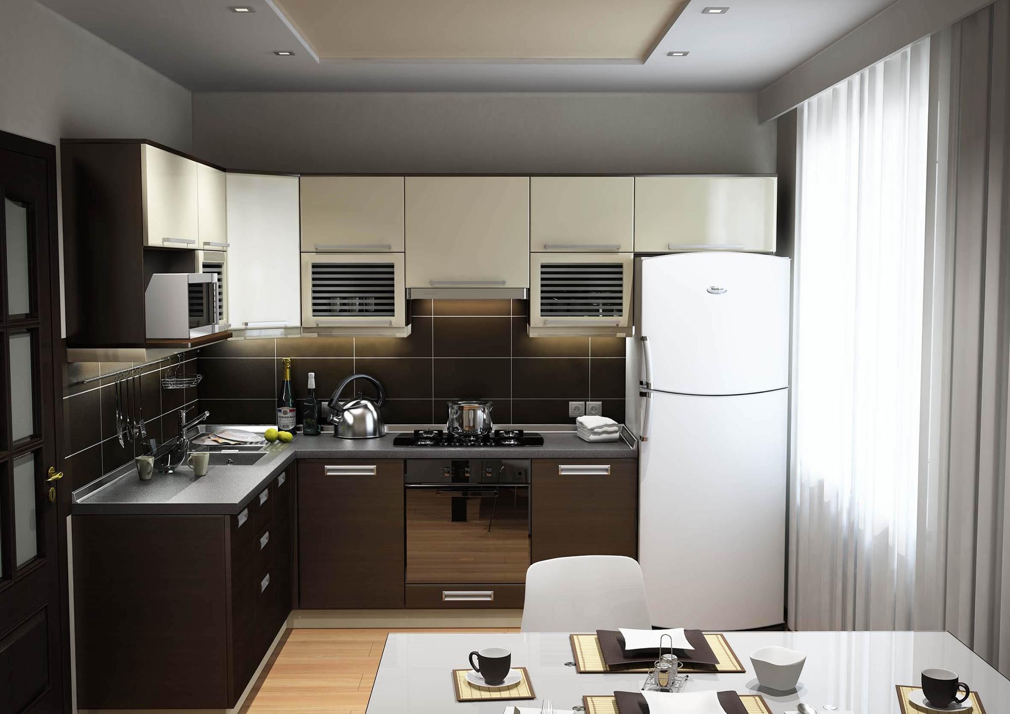 Небольшая уютная кухня в современном стиле