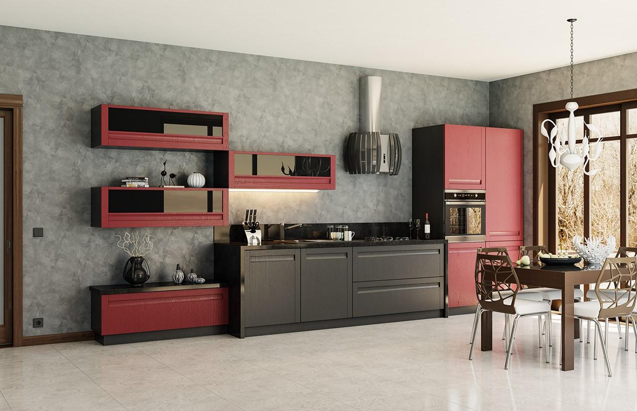 Красно-черный дизайн кухни