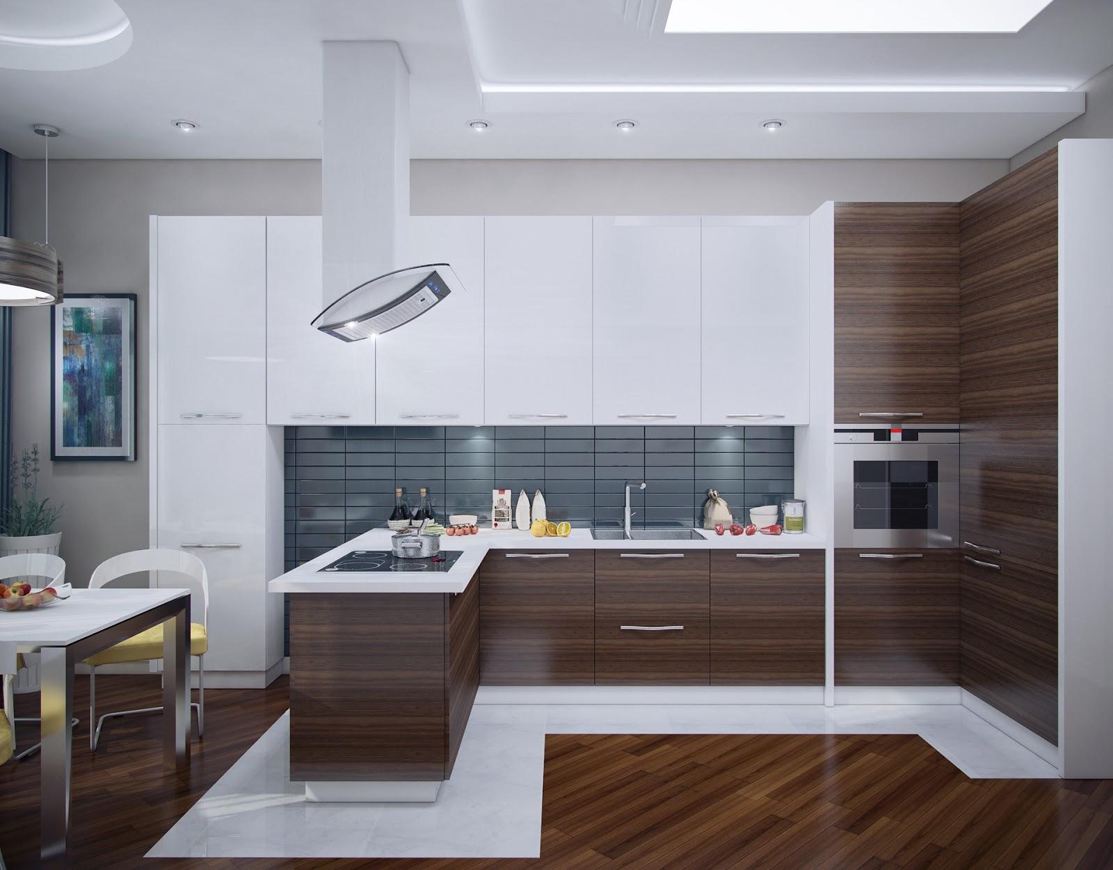 Современная п-образная кухня
