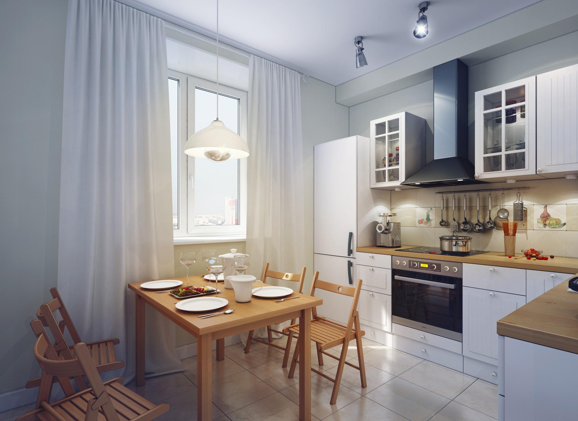 Уютная коричнево-белая кухня в современном стиле