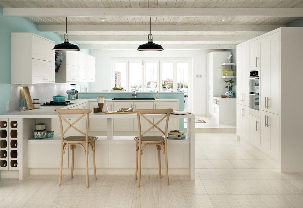 Кремово-мятная современная кухня