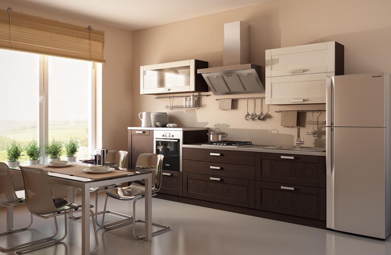 Бежево-коричневая современная кухня