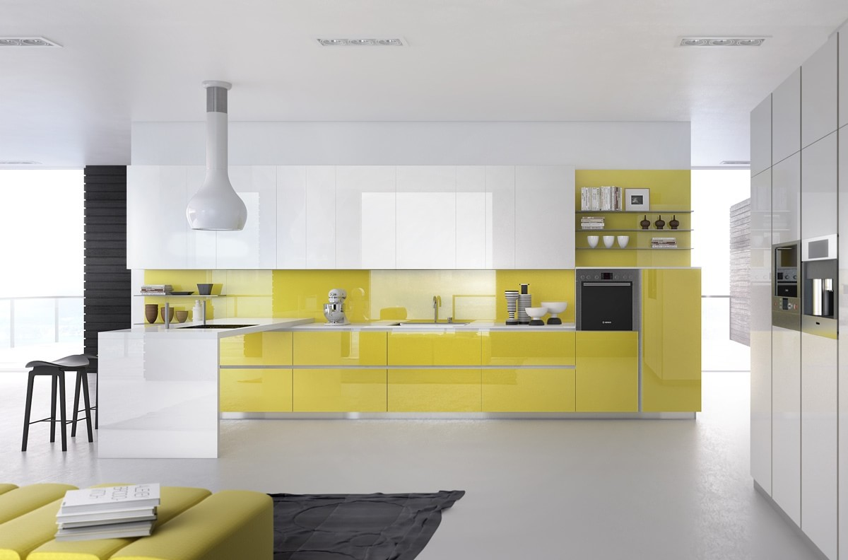 Бело-желтая кухня с черными акцентами в интерьере
