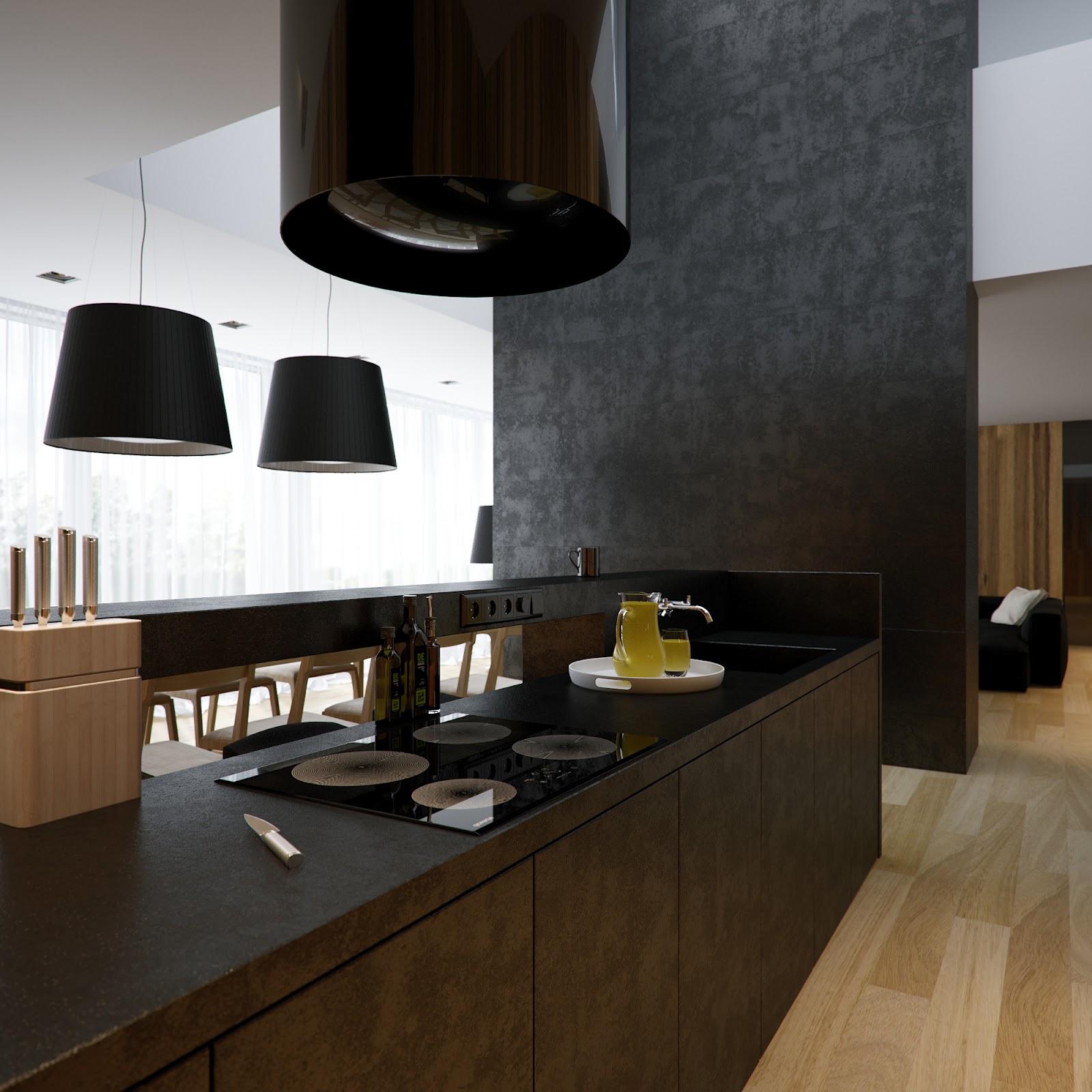 Бежево-черная кухня в стиле минимализм