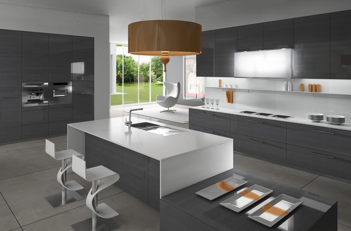 Серо-белая минималистичная кухня с оранжевыми акцентами