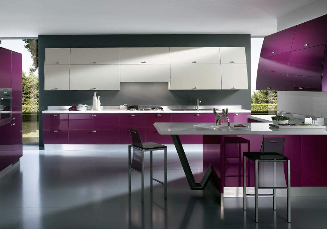 Фуксия, белый и серый цвета в интерьере кухни в стиле минимализм