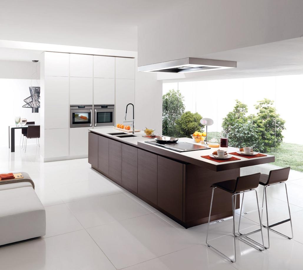 Современная кухня в стиле минимализм с большим островом